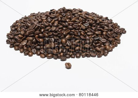 Hill coffee beans on a white background.