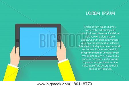Hands holding touch screen tablet pc with blanc blue screen. Vector illustration EPS10