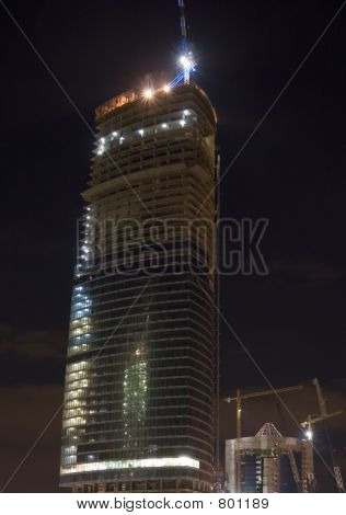 Construction of Moscow business center, night scene 1
