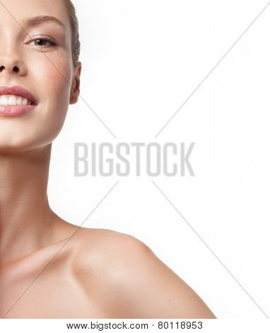 closeup portrait of attractive  caucasian smiling woman brunette isolated on white studio shot lips toothy smile face head and shoulders looking at camera tooth