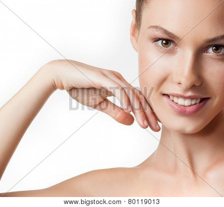 closeup portrait of attractive  caucasian smiling woman brunette isolated on white studio shot lips toothy smile face  head and shoulders looking at camera tooth arm pit