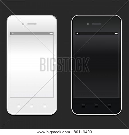 White and black smartphone realistic mockup. Model phone Isolated. Can use for frame or background p