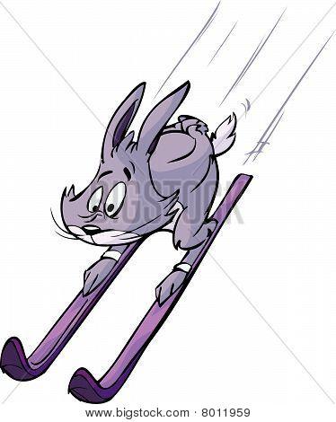 blue rabbit sliding on ski