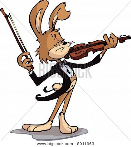 Rabbit playing violin