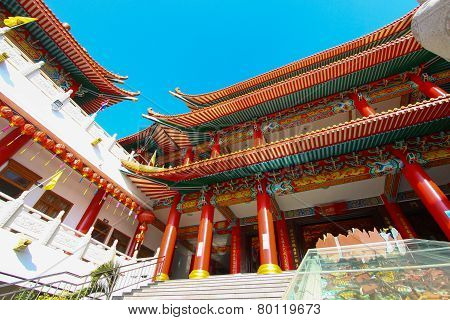 China temple and many people prayed the god in the place. The place for anniversary in Chinese new y