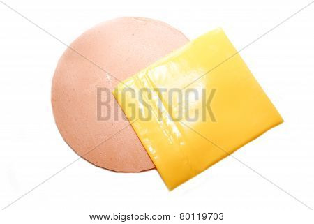 A Slice Of Bologna And Processed American Cheese