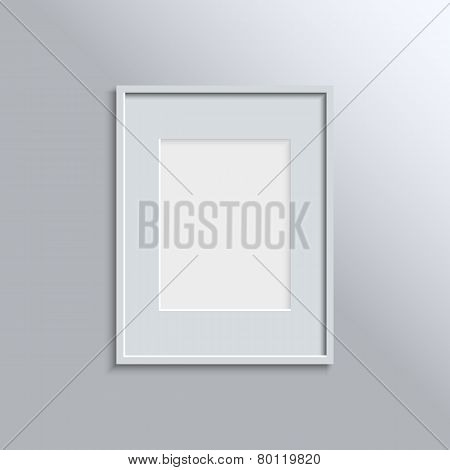 White frame on a wall vector background design for your content. Vector illustration EPS10.
