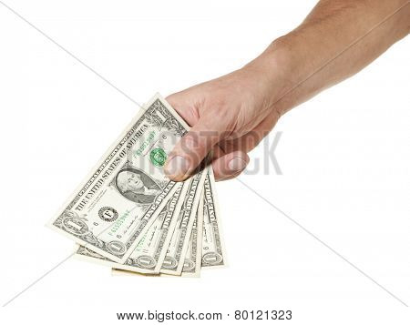 Male hand holding five one dollar bills isolated on white background