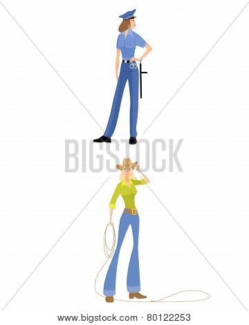 Cowgirl And Police Girl