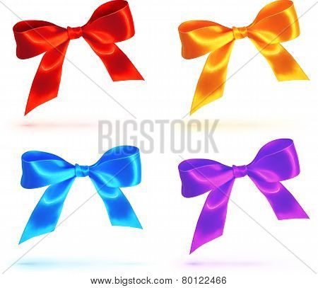 Bright colorful vector bows set