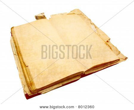 Ancient Notebook For Notes With The Turned Yellow Pages Isolated On A White Background