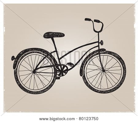 vector retro hand drawn bicycle silhouette isolated