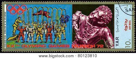 Vintage  Postage Stamp. Munich Olymhic City 1972. Diving.