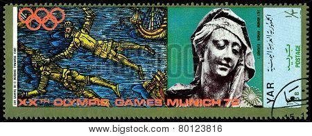 Vintage  Postage Stamp. Munich Olymhic City 1972. Sail.