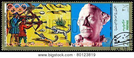 Vintage  Postage Stamp. Munich Olymhic City 1972. Shooting.