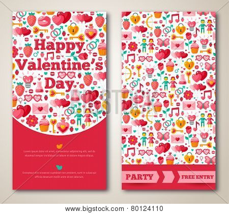 Set Of Happy Valentines Day Greeting Card or Flyer.