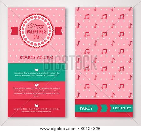 Beautiful greeting or invitation cards with musical pattern.