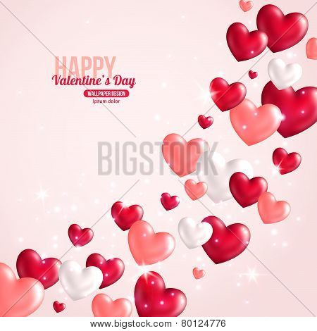 Valentines Day Card Design with Hearts for Holiday Design