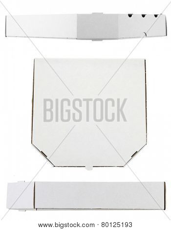 Collage of cardboard pizza boxes, isolated on white