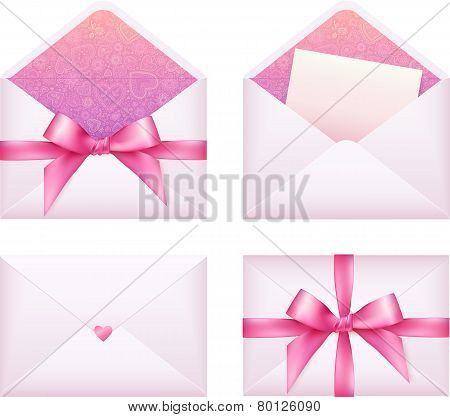 Pink envelope with ribbon, vector set