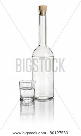 Liquor bottle and drinking glass filled with clear liquid
