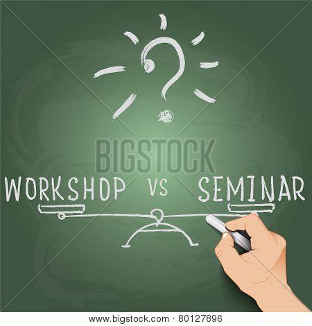 3d hand writing on the blackboard, workshop or seminar