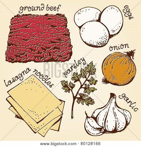 Lasagna ingredients hand drawn set
