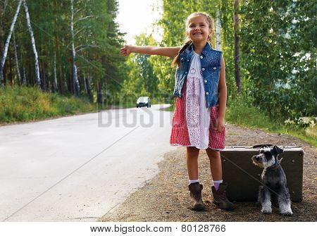 Lonely Girl Standing On The Road With A Suitcase And A Dog, Raised Her Hand