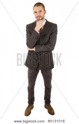 young business man full body, thinking, isolated