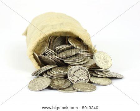 Bag of old silver bullion