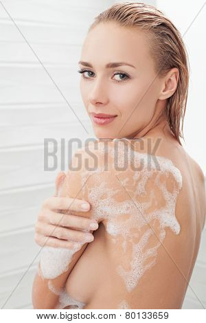 Soapy Lather On Beautiful Body.