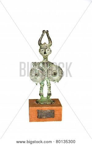 Bronze Statuette Of A Celtic Hero Cuchulainn On A White Background