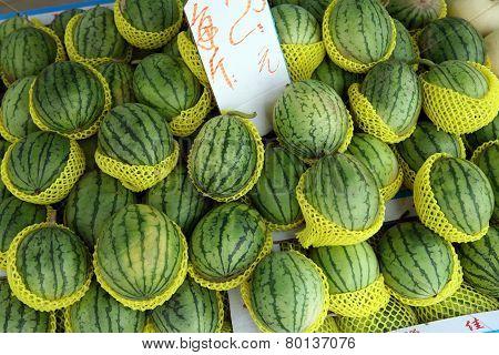 Heap of watermelon at farmers market