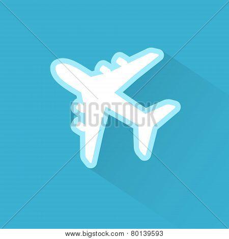Airplane Icon Flat Minimal Vector Silhouette