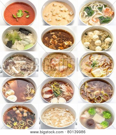 Collage of various soups