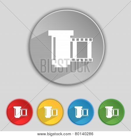 Negative Films Icon Symbol. Set Of Colourful Buttons. Vector