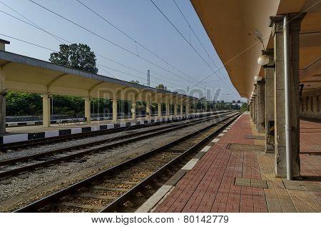 Railway platform of railway station Ruse