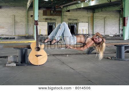 Sexy Blonde with a Guitar (3)