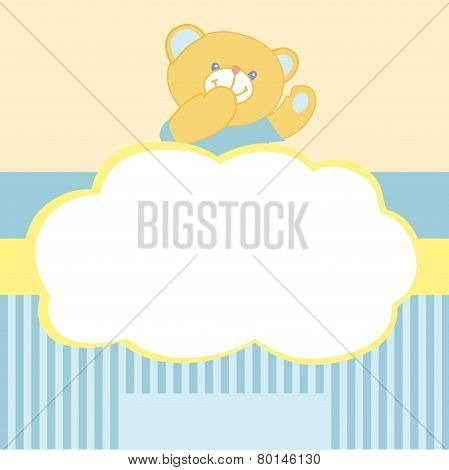 Vector background with teddy bear. Kiss, love, space for text. Card for newborn boy. Goods for newbo
