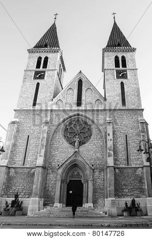 Sarajevo, Bosnia and Herzegovina - The Sacred Heart Cathedral in black and white