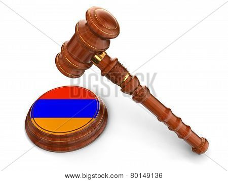 Wooden Mallet and Armenian flag (clipping path included)