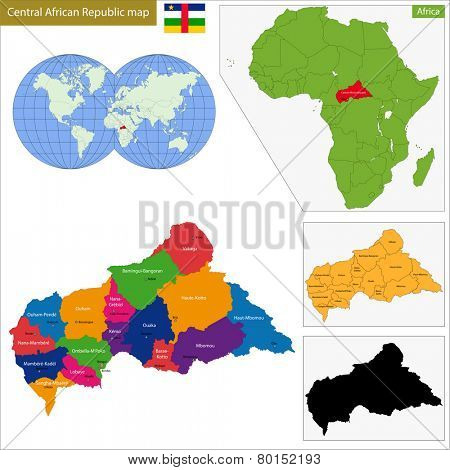 Map central African Republic with high detail and accuracy and it is divided into provinces which are colored with different bright colors