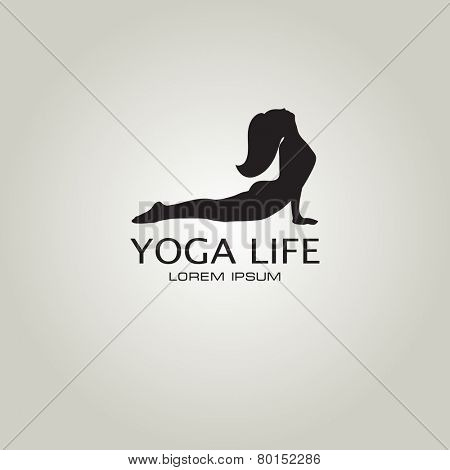 Vector illustration for your company logo. Yoga sign. Girl in yoga pose cobra