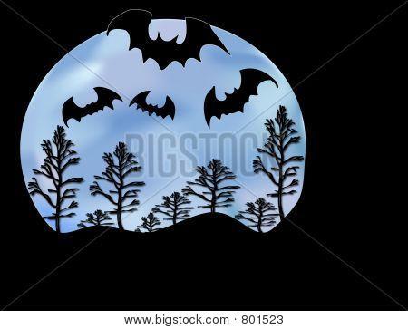 Bats Moon and Trees