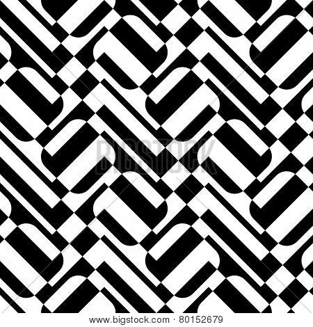 Seamless Square and ZigZag Pattern. Abstract  Black and White Background. Vector Regular Texture