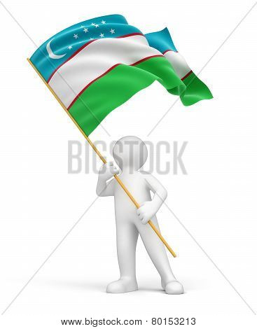 Man and Uzbek flag (clipping path included)