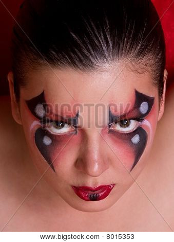 Face Of A Woman With Body Paint As Spider.