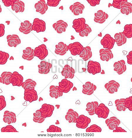 Pink roses and hearts storm seamless vector pattern