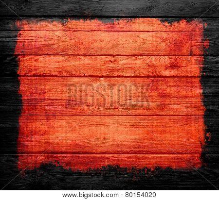 grunge orange wood texture background with black frame