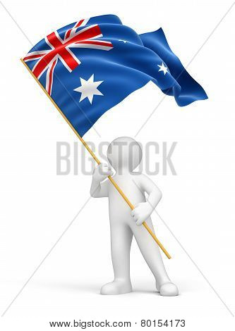 Man and Australian flag (clipping path included)